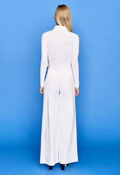 Lorraine - White Wide Leg Pull On Dress Pants