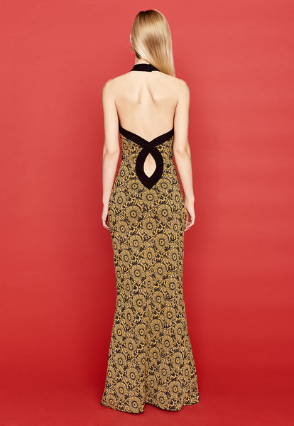 Carine - Halter Top, Gold and Black Maxi Dress
