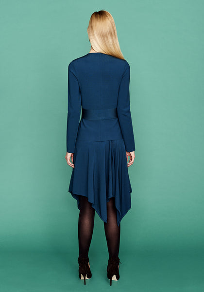 Rose - Teal Blue, Asymmetrical Pointed and Pleated Skirt