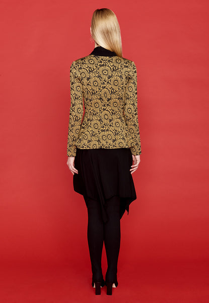Nikki - Long Sleeve, Brocade Gold and Black Blazer Jacket