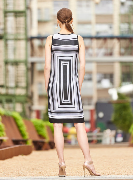 Lasalle - Sleeveless Tank Dress with Modern Geometric Design