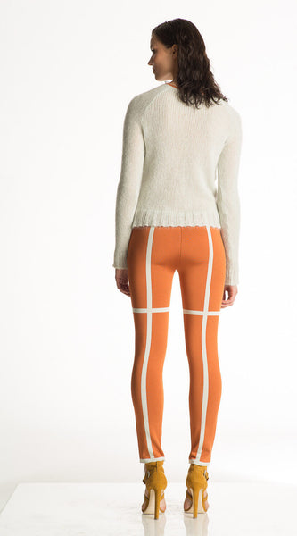 Louisa - Orange and White Leggings, Stretch Tight Pants