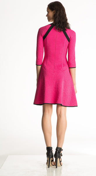 Elaina - Knitted, Matelasse Fabric, Fuschia Pink Dress
