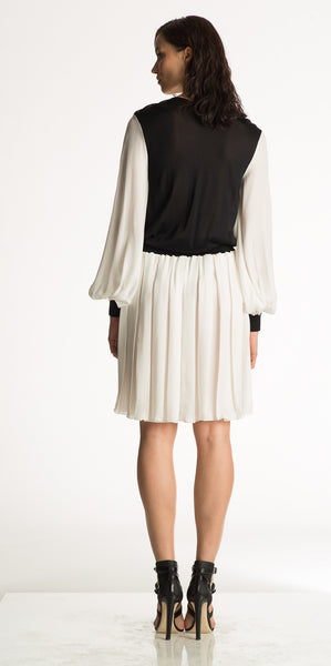 Apollina - Pleated Georgette Fabric White Silk Dress