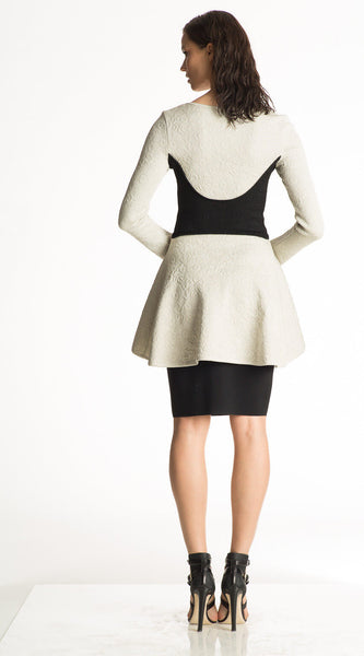 Gabriella - Matelasse Knit, Platinum White Peplum Jacket with Black Detail