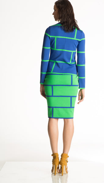 Dominique - Knit, Emerald Green Pencil Skirt with Blue Motif