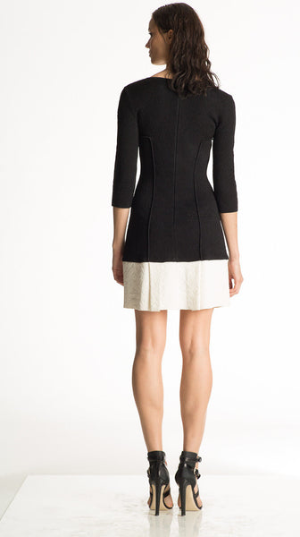 Claudette - Black Top, White Pleated Skirt Dress