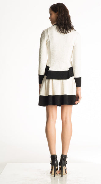 Abella - Matelasse Knitted White and Black Skirt