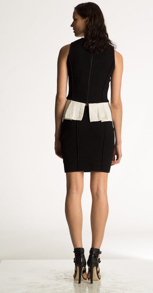 Lucille - Knit Black and White Peplum Top