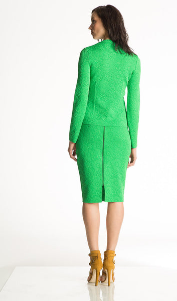 Ursula - Matelasse, Jacquard Knit Emerald Green Jacket or Blazer