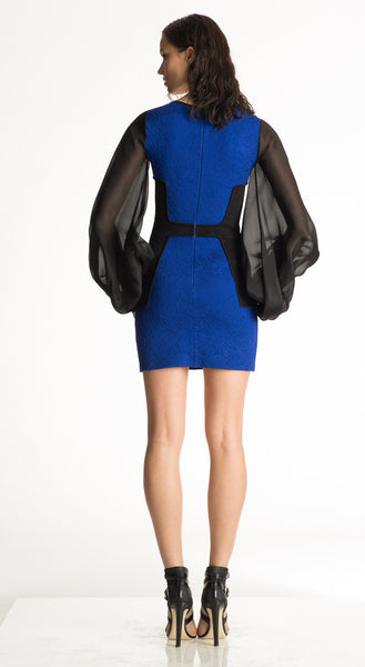 Catalina - Long Silk Sleeve, Cobalt Blue Bodycon Dress