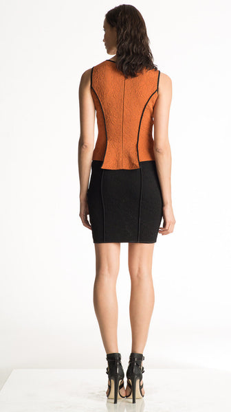 Violetta - Jacquard Knit, Orange or White Peplum Top - Black Piping