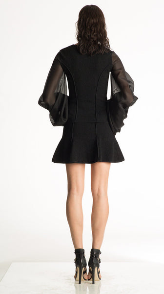 Cherie - Silk Organza Sleeve, Lightweight Black Jacket