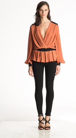 Carina - Long Sleeve, Black and White Silk Top