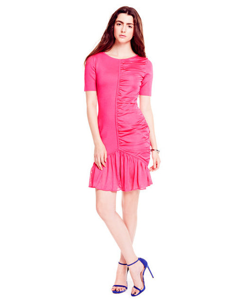 Abelia - Designer Knitted, Short Sleeve Pink or Blue Dress