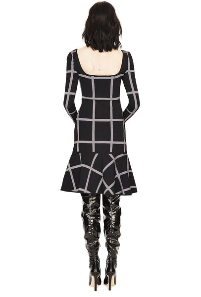Agatha - Fit and Flare, Plaid, Long Sleeve Dress with Trumpet Skirt