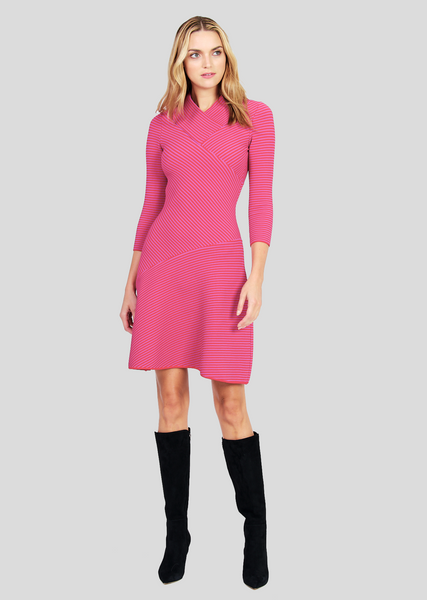 Alaina – Ottoman Knit A-Line Wrap Dress