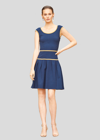 Amanda - Drop Waist Dress with Metallic Trim