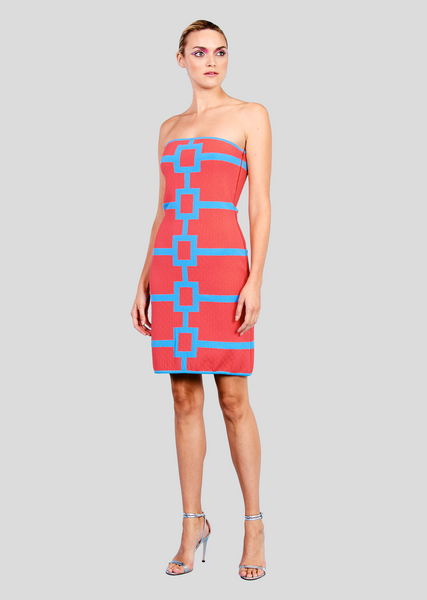 Aubrey - Strapless Geo Dress