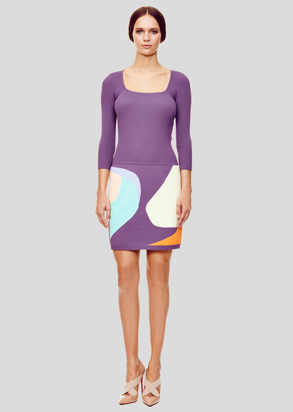 Audrey - Purple and Pastel Color Dress with Intarsia Knitting