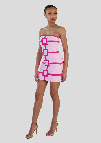 Aubrey Dress- Fitted Strapless Party Dress With Geometric Design