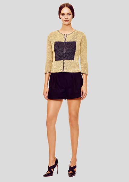 Berenice - 3/4 Sleeve, Linen, Tan and Black Cardigan Sweater