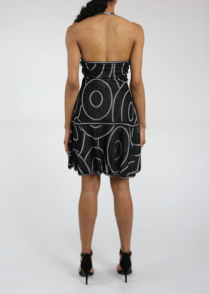 Drop Waist, Mock Neck, Black Halter Dress Sale - Geometric Pattern