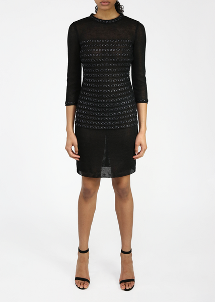 Yasmine - Knitted, 3/4 Sleeve, Black Linen Dress with Raffia Stitch Detail