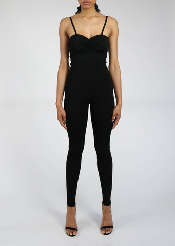 Gigi - Soft Milano Knit Stretch Viscose Black Jumpsuit