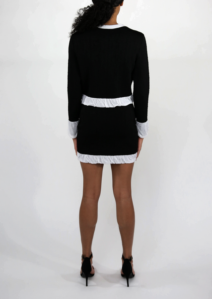 Knit Black Mini Skirt Sale - White Ruched Hem