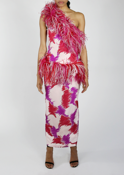 One Shoulder Pink Feather Abstract Gown