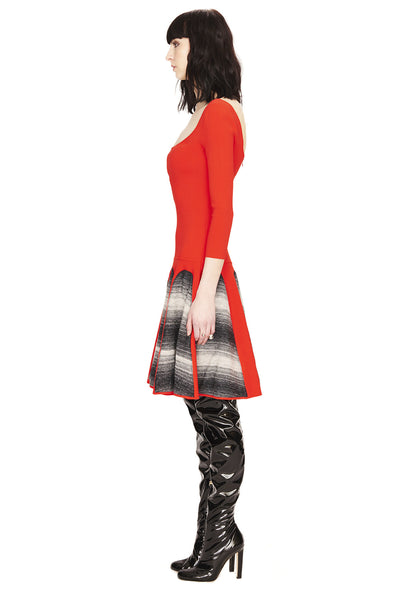 Christiane - Knitted, 3/4 Sleeve Red Dress with Grey Motif