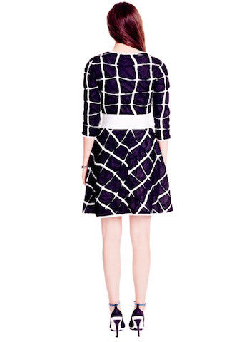 Claribel - White Patterned Navy Blue Dress with Zip Front