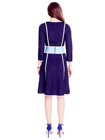 Fanette - Pique Knit Cobalt Blue V Neck Dress