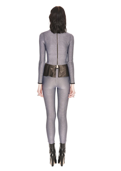 Corrine - Grey Tweed and Black Peplum Top