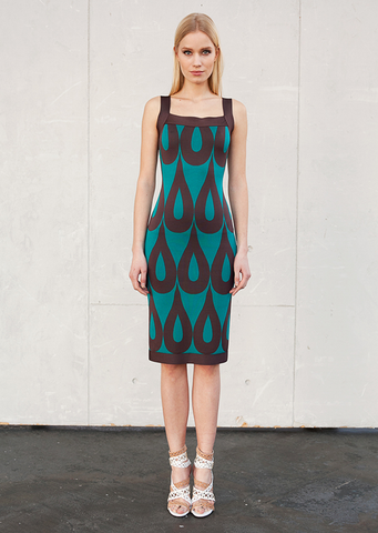 Chantal - Sleeveless, Square Neck, Turquoise Pencil Dress with Teardrop Design