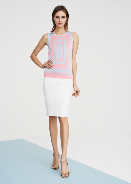 Charee - Sleeveless Viscose Top with Modern Geometric Design