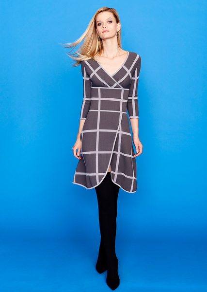 Charlize - Scalloped Gray Plaid Wrap Dress