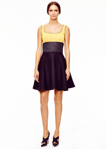 Charlotte - Empire Waist, Yellow and Black Sleeveless Dress