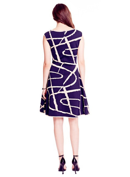 Delphine - Knit Navy Blue Dress with Beige Abstract Detail