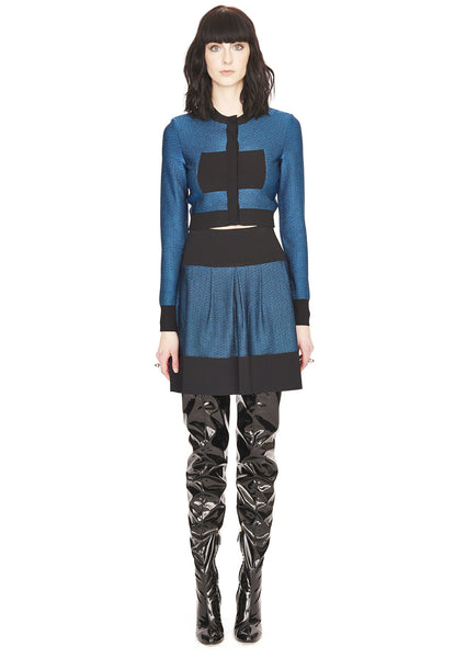 Julie - Cropped Blue, Red or Black Cardigan Sweater with Color Block Motif