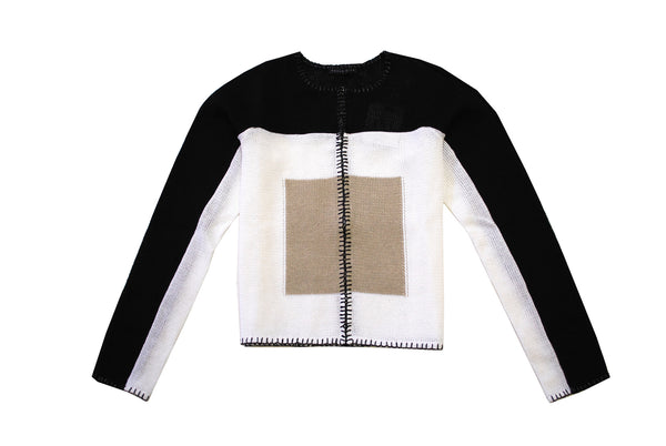 Claudine - Color Block, Black, White and Yellow Cardigan Sweater