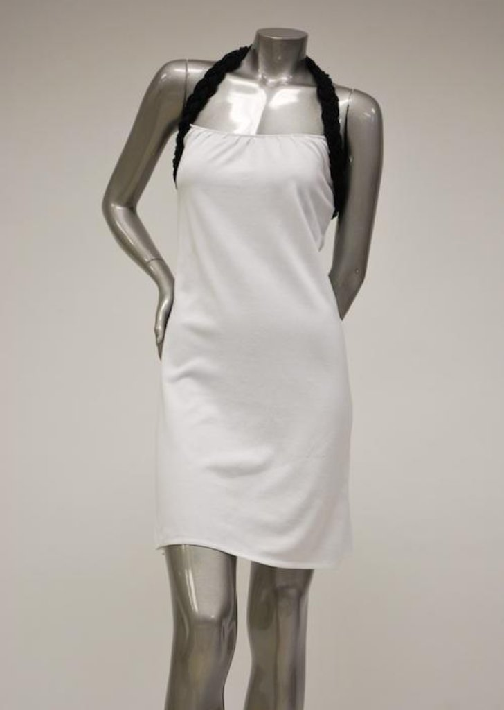 Summer Cotton, White Halter Dress Sale - Black Rope Neck