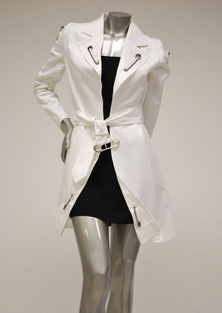 White Cotton Trench Coat Sale - Safety Pin Embellisments