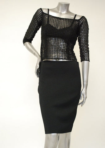 Long Knitted Black Pencil Skirt Sale