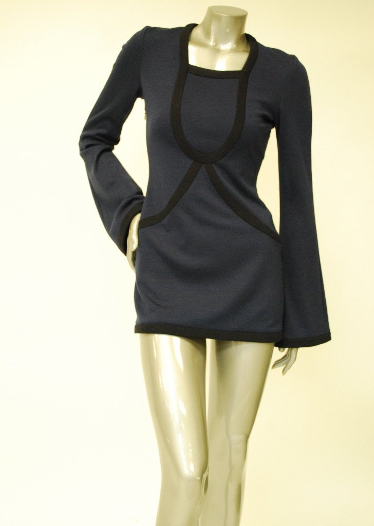 Knitted, Long Sleeve Navy Blue Dress Sale