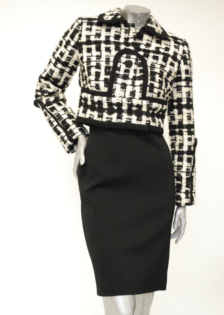 Black and White Wool Tweed Jacket Sale