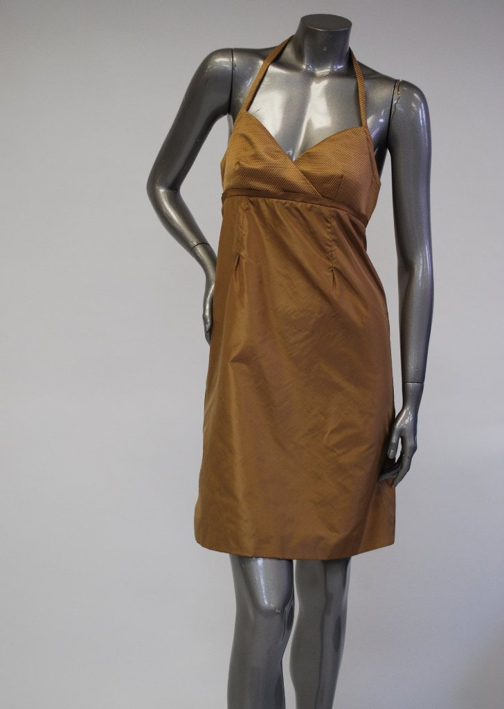 Brown Silk Halter Neck Dress Sale