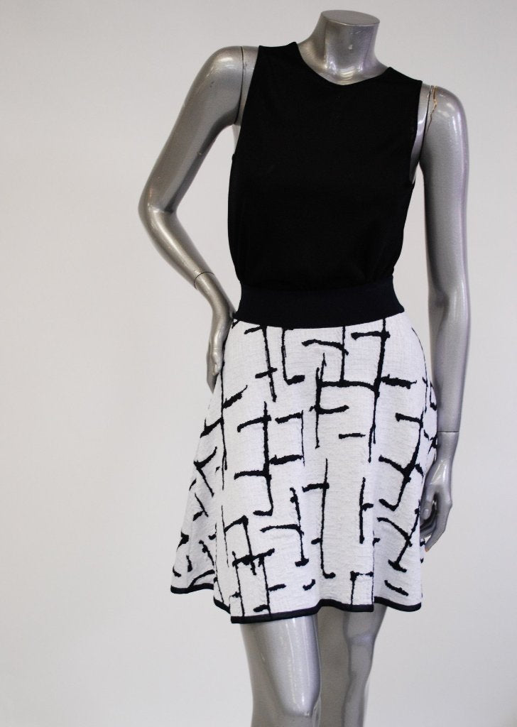 Savannah - Flared White Skirt with Navy Blue Barbed Detail