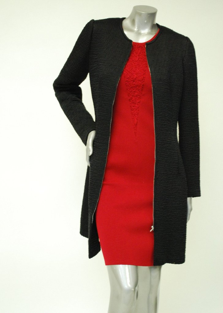 Knit, Long Black Jacket Sale -  Textured Rib Design